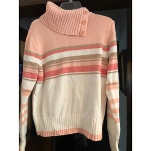 NWT Fashion Bug Pink and White Turtle Neck Sweater
